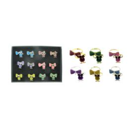 36 Units of Double ring display of owls and bows - Rings