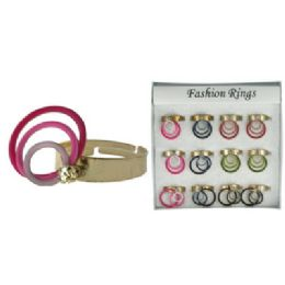 72 Units of Gold-tone adjustable ring with multicolor circular DANGLES