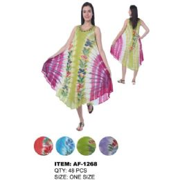 48 Units of Wholesale TIE DYE Handpainted Flowers Umbrella Dresses