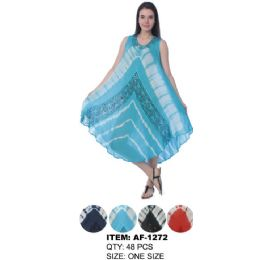 48 Units of Wholesale TIE DYE Colored Umbrella Dresses with Embroidery