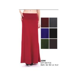 48 Units of Cotton Solid Maxi Skirt - Womens Skirts