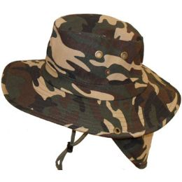 30 Units of Camouflage Hat W/ Back Flap - Hats With Sayings