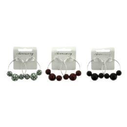 96 Units of Medium sized HOOP EARRINGS with spherical beads