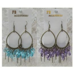 96 Units of Antique Brass look French hook hoop earring with multiple assorted color acrylic DANGLES