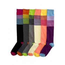 144 Units of Women's Colorful Striped Knee Highs - Womens Knee Highs