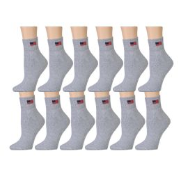 180 Units of Yacht & Smith Women's USA American Flag Low Cut Ankle Socks, Size 9-11 Gray - Womens Ankle Sock