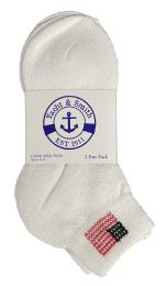 180 Units of Yacht & Smith Kids USA American Flag White Low Cut Ankle Socks, Size 6-8 Unisex - Girls Ankle Sock
