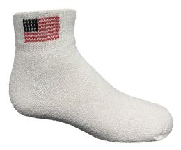 24 Units of Yacht & Smith Kids Usa American Flag White Low Cut Ankle Socks, Size 6-8 - Girls Ankle Sock