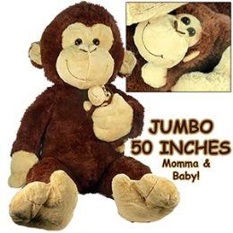 2 Units Of Jumbo Plush Cuddle Monkeys W Baby Plush Toys At