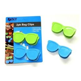 96 Units of Wholesale 2 Pack Novelty Snack Clips Sunglasses - Novelty & Party Sunglasses
