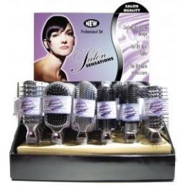 144 Units of Salon Sensations Silver Color Proline Hairbrushes in Display Box - Hair Brushes & Combs