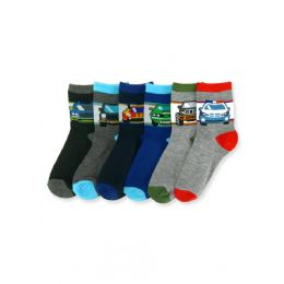 144 Units of Boy's Vehicle Crew Socks - Boys Crew Sock