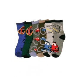 144 Units of Baby Boy's Car Print Crew Socks - Boys Ankle Sock