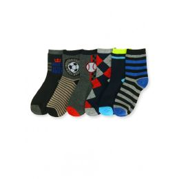 144 Units of Boy's Mixed Prints Crew Socks - Boys Crew Sock