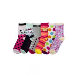 288 Units of Little Girls Colorful Printed Crew Socks - Girls Crew Socks