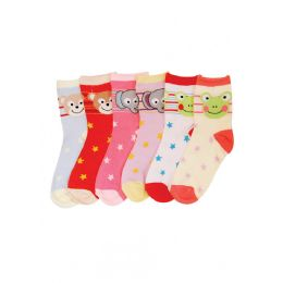 144 Units of Baby Girls Animal Printed Crew Socks - Girls Crew Socks
