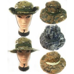 12 Units of Wholesale Camo Boonie Flappy Hat with Strap - Cowboy & Boonie Hat