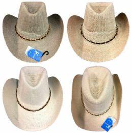 24 Units of Wholesale White, Gray,Tan Summer Mesh Cowboy Hat - Cowboy & Boonie Hat