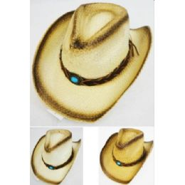 12 Units of Wholesale Paper Straw Cowboy Hat With Simulated Turquoise Stone - Cowboy & Boonie Hat
