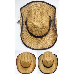 24 Units of Wholesale Straw Cowboy Hat - Cowboy & Boonie Hat