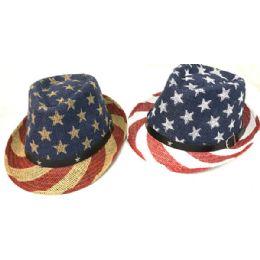 24 Units of Wholesale American Flag Stars & Stripes Print Cowboy Hats - Cowboy & Boonie Hat