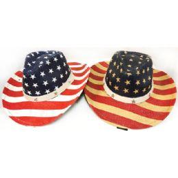 24 Units of Wholesale Large American Flag Stars & Stripes Print Cowboy Hats - Cowboy & Boonie Hat
