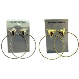 36 Units of Gold Tone And Silver Tone Post Hoop Earrings With Triangle Post - Earrings