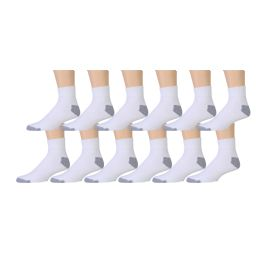 180 Units of Yacht & Smith Men's King Size Cotton Sport Ankle Socks Size 13-16 Solid White - Big And Tall Mens Ankle Socks