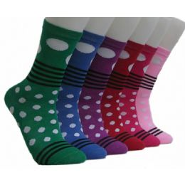 360 Units of Women's Stripes & Dots Crew Socks - Womens Crew Sock