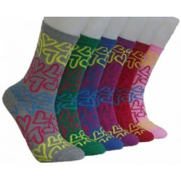 360 Units of Women's Neon Hearts Crew Socks - Womens Crew Sock