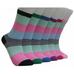 360 Units of Women's Summer Stripes Crew Socks - Womens Crew Sock