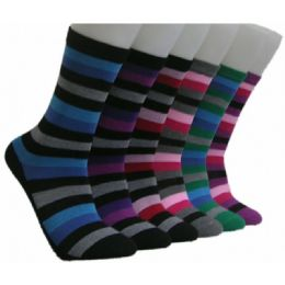 360 Units of Women's Dark Stripes Crew Socks - Womens Crew Sock