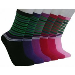 360 Units of Women's Candy Stripes Crew Socks - Womens Crew Sock
