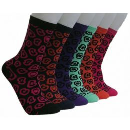360 Units of Women's Printed Crew Socks - Womens Crew Sock