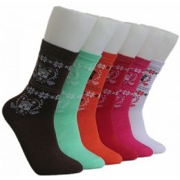 360 Units of Women's Snow Flake Crew Socks - Womens Crew Sock