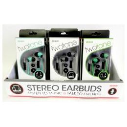 36 Units of Wholesale Twotone Stereo Earbuds W/iN-Line Microphone - Headphones and Earbuds