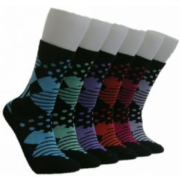 360 Units of Women's Mixed Patterned Crew Socks - Womens Crew Sock