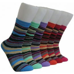 360 Units of Women's Colorful Stripes Crew Socks - Womens Crew Sock