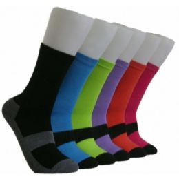 360 Units of Women's Solid Color Crew Socks - Womens Crew Sock