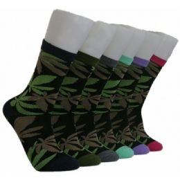 360 Units of Women's Marijuana Socks - Womens Crew Sock