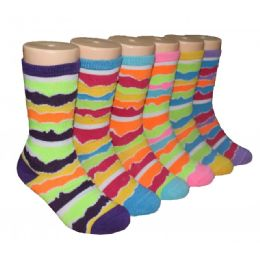 480 Units of Girls Colorful Waves Print Crew Socks - Girls Crew Socks