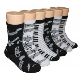 480 Units of Girl's Musical Print Crew Socks in Assorted Colors and Prints - Girls Crew Socks