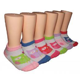 480 Units of Girls Owl Print Low Cut Ankle Socks - Girls Ankle Sock