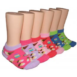 480 Units of Girls Ice Cream Shop Low Cut Ankle Socks - Girls Ankle Sock
