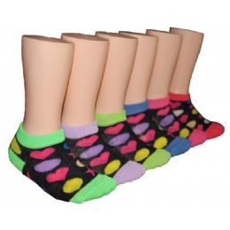 480 Units of Girls Colorful Shapes Low Cut Ankle Socks - Girls Ankle Sock