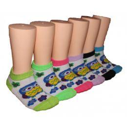 480 Units of Girls Happy Owl Low Cut Ankle Socks - Girls Ankle Sock