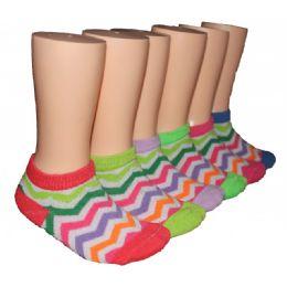 480 Units of Girls Rainbow Chevron Low Cut Ankle Socks - Girls Ankle Sock