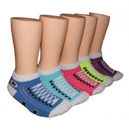 480 Units of Girls Sneaker Print Low Cut Ankle Socks - Girls Ankle Sock