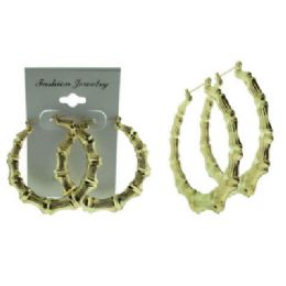 36 Units of Gold tone pin catch hoop earring with 3 inch bamboo look goldtone puff hoops - Earrings