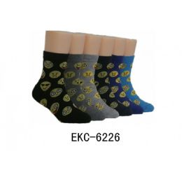 480 Units of Boys Emoji Printed Crew Socks - Boys Crew Sock